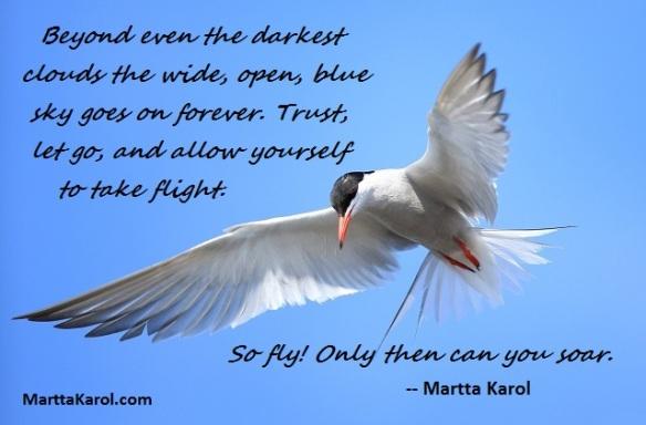 Martta-Karol-quote-on-flying-white-gull-blue-sky
