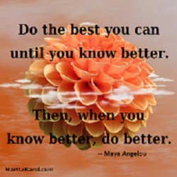 Quote: Maya Angelou. Do the best you can until you know better. Then, when you now better, do better.