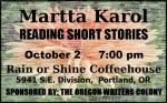 Announcement: Martta Karol reading short stories.