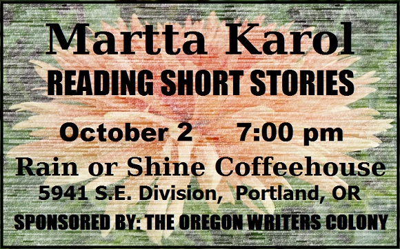 Announcement: Martta Karol Reading Oct 2 7 pm Rain or Shine Cafe