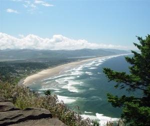 View of Rockaway Beach on the beautiful Oregon coast.